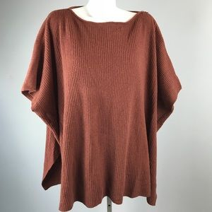 VINCE Poncho Ribbed Sweater Oversize Wool Cashmere